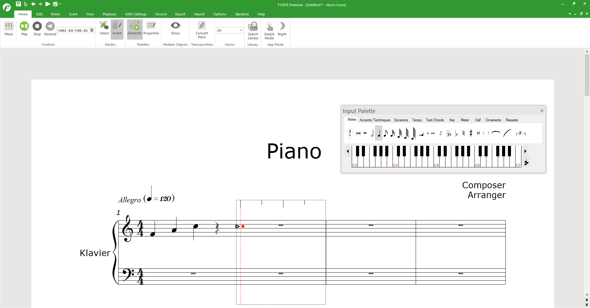 Inputting notes into a score with FORTE and its music ruler when making sheet music