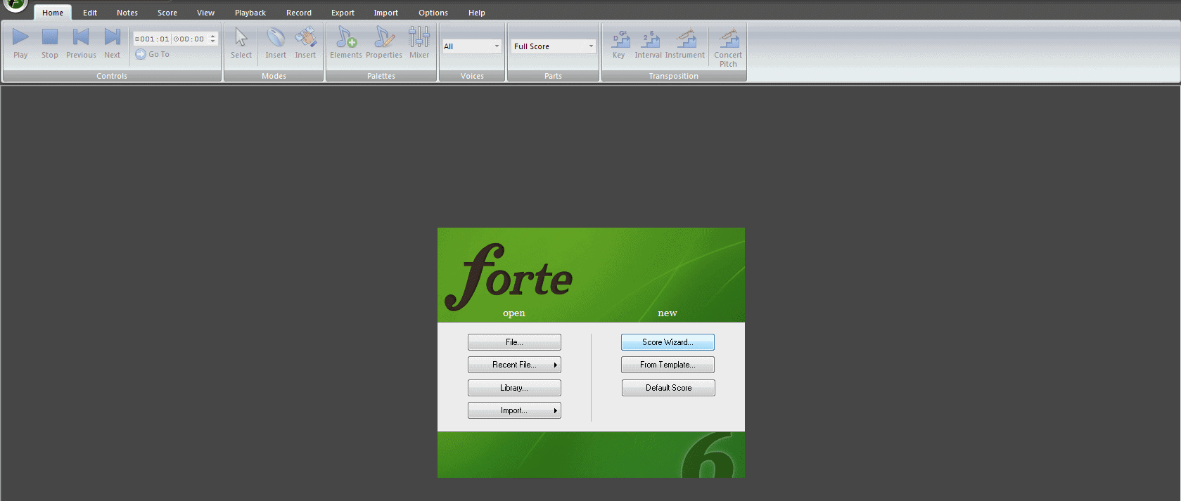 Using the Score Wizard to set up FORTE's sheet music maker program