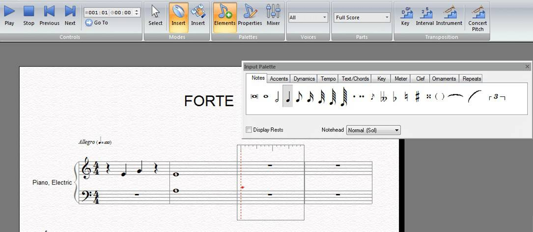 Using FORTE to write music notes on a staff