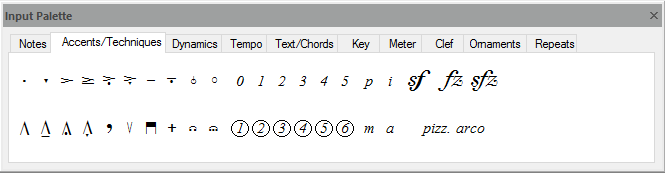 FORTE's input palette – used to write notes to scores, add accents and much more...