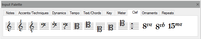 FORTE's input palette – used to write notes to scores, add accents and dynamics, change tempo, clef and key, and much more...