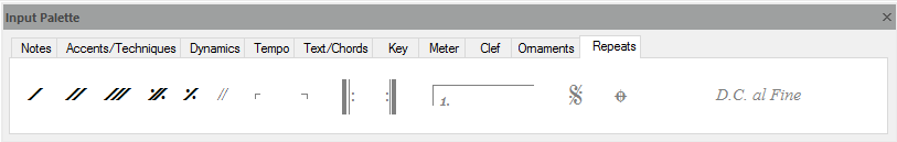 FORTE's input palette – used to write notes to scores, add accents and dynamics, change tempo and key, and much more...