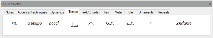 FORTE's input palette – used to write notes to scores, change tempo, add dynamics and much more...