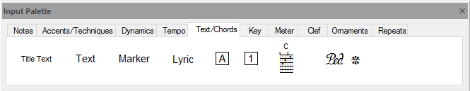 FORTE's input palette – used to write notes and chords to scores, add accents, dynamics, change tempo and much more...
