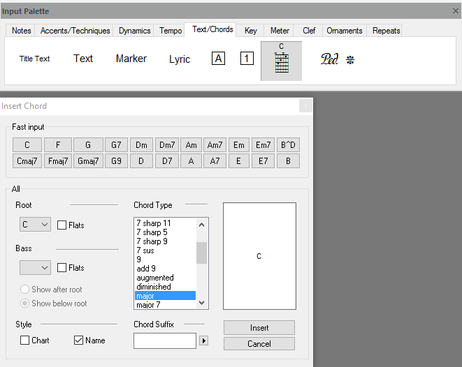 FORTE's input palette – used to write notes to scores, add accents, dynamics, change tempo and much more...