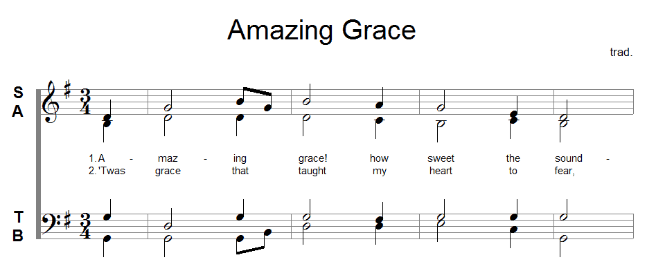 Staff from Amazing Grace showing different voices/note values on the same beat