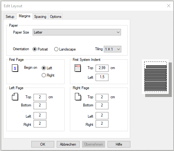 Editing the score layout in FORTE – editing the margins