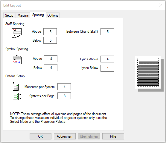 Editing the score layout in FORTE – editing the spacing