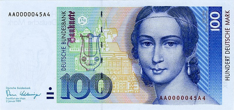 Face of Clara Schumann on a banknote